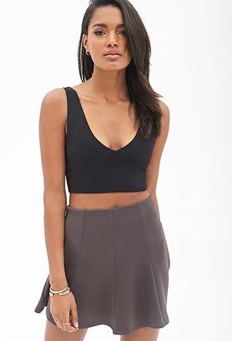 Seam-Stitched Skater Skirt | Forever21 - 2000068434