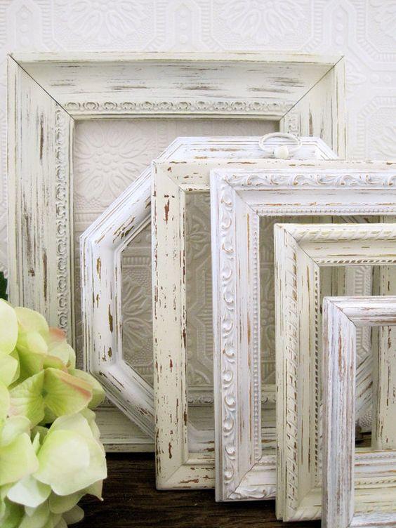 antique white picture frames set of 6 shabby by sealoveandsalt 6800
