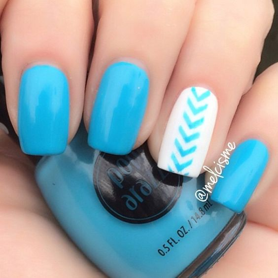 Here's a simple Chevron pattern that will work well with casual look and if you're not that much into nail art or perhaps simple nail polish.