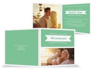 Grüne Hochzeitseinladung farbenfroh, Frühling, Klappkarte mit Sonnenschein