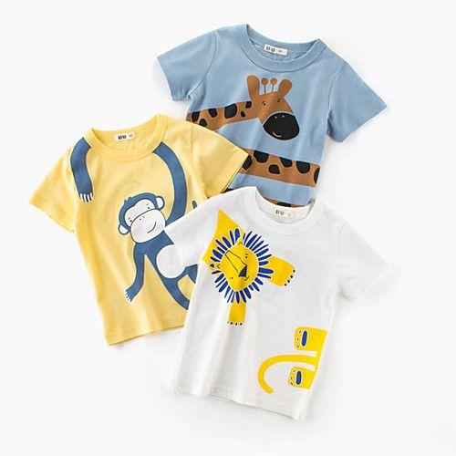 Kids Boys T-Shirt Giraffe Cotton Children Tops Short Sleeves