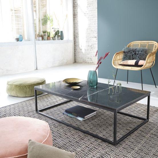 Table Basse Rectangulaire En Marbre Noir Et Metal 120 Table