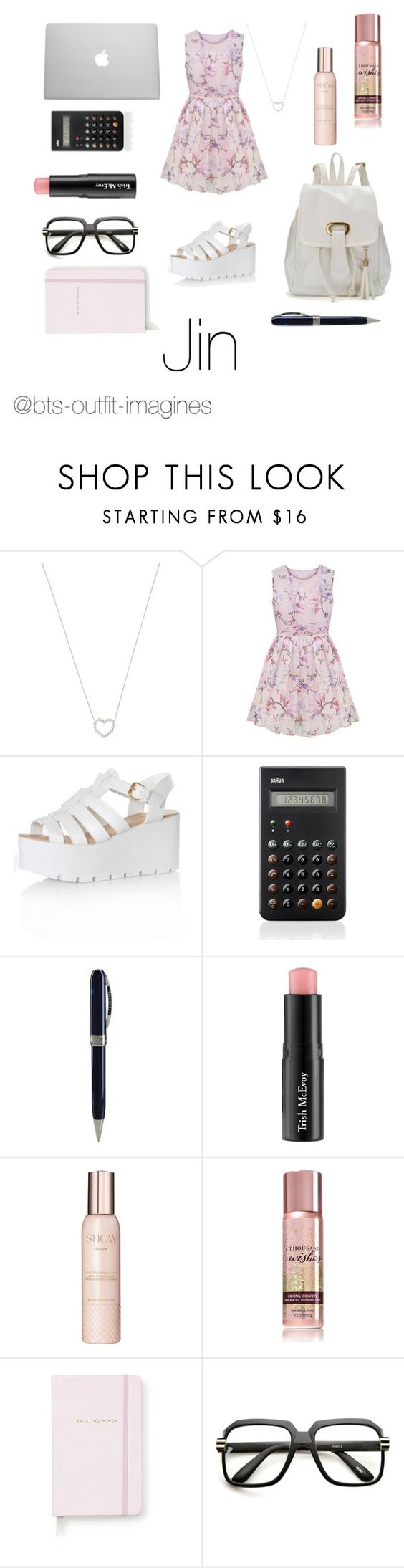 """""""School with Jin"""" by bts-outfit-imagines ❤ liked on Polyvore featuring Tiffany & Co., Glamorous, Braun, Visconti, Trish McEvoy, Show Beauty, Kate Spade, women's clothing, women and female"""