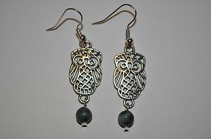 Owl and Green Tree Agate Gemstone Earrings:
