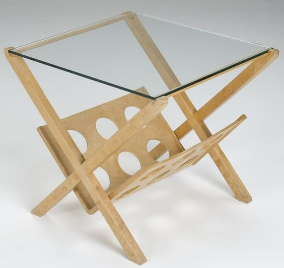Ilmari Tapiovaara; Unique Birch and Glass Side Table, 1950s.