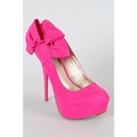 Hot pink High heels with bow | Shoes | Pinterest | Hot pink