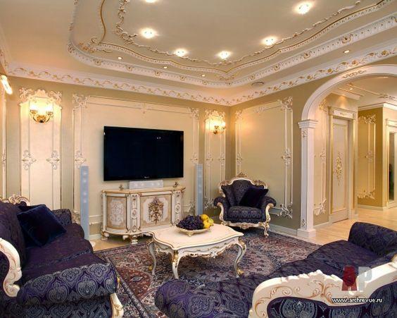 Фото интерьера домашнего кинотеатра квартиры в классическом стиле