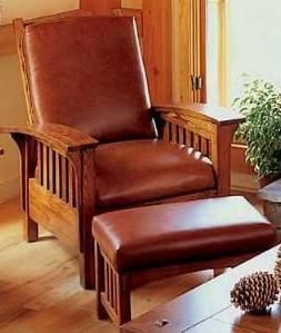 The bow-arm, slatted Morris Chair and Ottoman, an Arts & Crafts period icon.