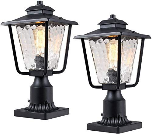 Enjoy Exclusive For Osimir Outdoor Post Light 2 Pack Outdoor Post Lantern Pier Mount Adapter 7 9 W X 13 4 H Pier Light Sanded Black Finish Bubble Glass In 2020 Post Mount Lighting