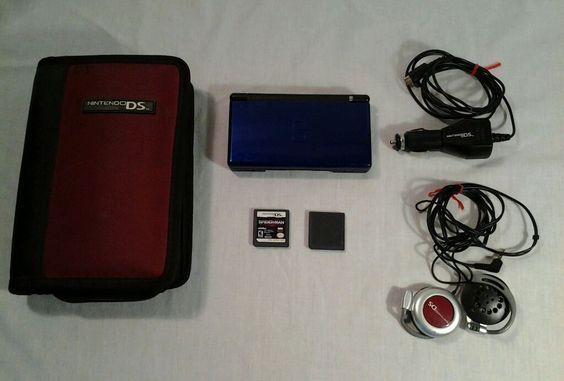 NINTENDO 2006 DS Lite Cobalt Blue & Black System w/ BROKEN HINGE & Case Bundle  #Nintendo