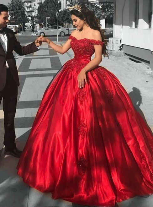 Red Satin Bridal Engagement Ball Gown Wedding Dresses Lace Corset Off Shoulder Red Quinceanera Dresses Red Prom Dress Red Ball Gowns