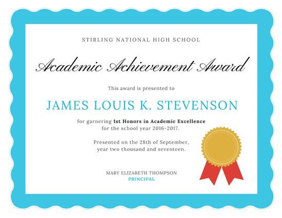 Academic Excellence Certificate Awards Certificates Template