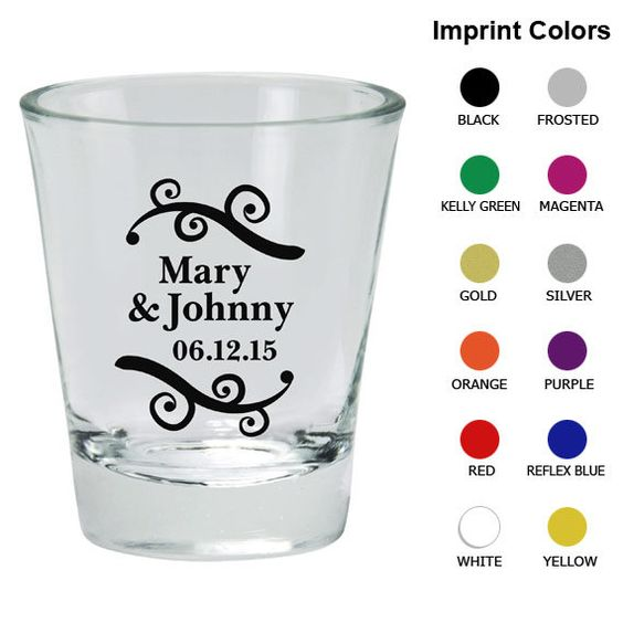 Personalized Shot Glasses (Clipart 1710) Names and Date - Wedding Shot Glass Favors - Custom Shot Glass - Wedding Shot Glasses