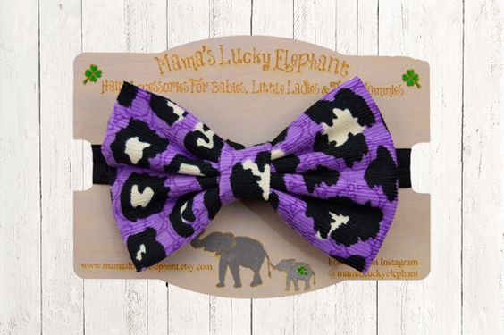 Halloween Fabric Bow Headband, Fabric Bow Clip-on || Halloween Purple Black and White on Black Fabric Elastic Band or Clip Mounted by mamasluckyelephant on Etsy