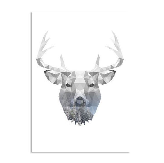 Printable Art Poster Print Reindeer Interior decoration Winter ...