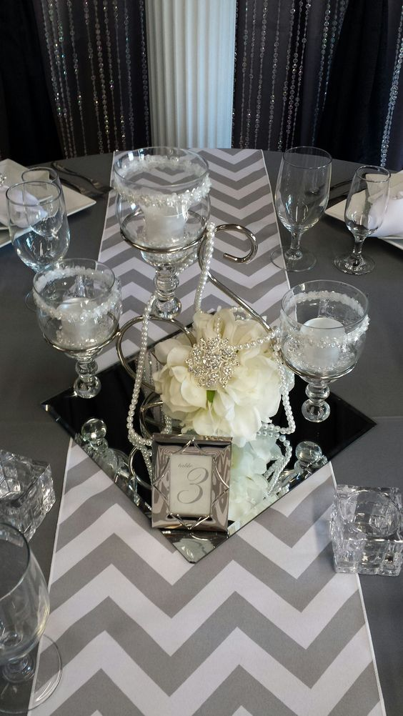 Scroll centerpiece with square mirror tile party decor