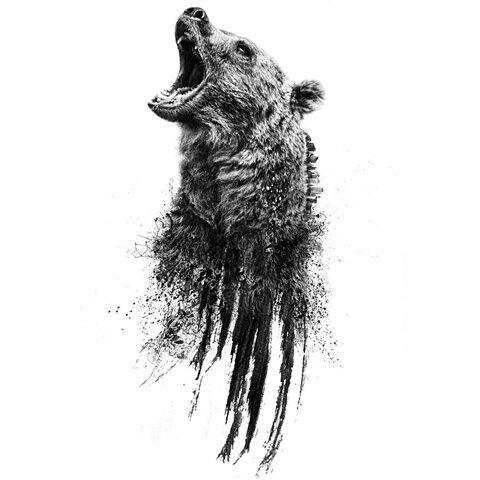 Black Bear Face Tattoo