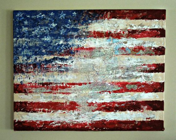 American Flag Map Painting by Hannah Mae Barker on Etsy