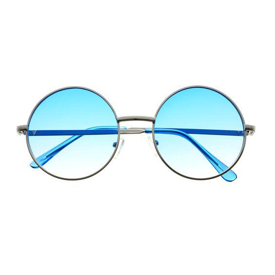 Colorful Lens Retro Vintage Fashion Silver Metal Circle Round Sunglasses R2760