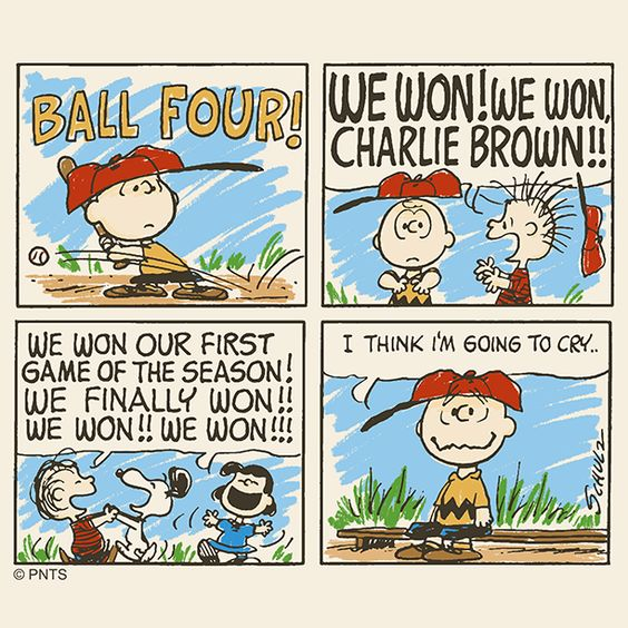 """PEANUTS on Twitter: """"Happiness is winning your first baseball game.… """""""