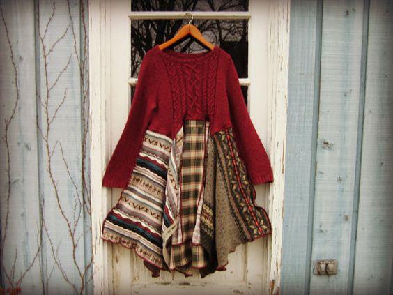 Robe pull Bohème Upcycled LG. / / emmevielle par emmevielle sur Etsy