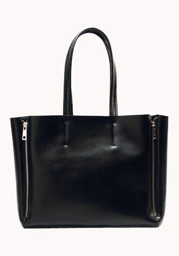 New Arrival. Victoria Zipper Leather Tote Bag Black for $89.