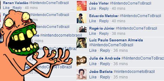 Brasileiros bombardeiam fan-page da Nintendo com a hashtag #NintendoComeToBrazil