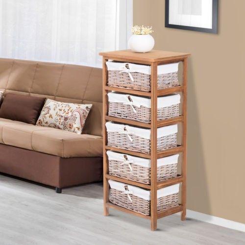 5 Drawer Storage Unit Woven Wicker Baskets Wood Frame Bedroom Bathroom Furniture