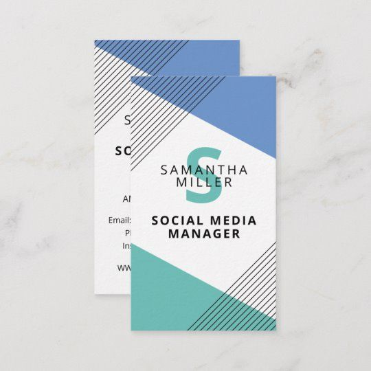 Social Media Manager Chic Modern Geometric Business Card Zazzle Com Business Card Template Social Media Management Business Social Media
