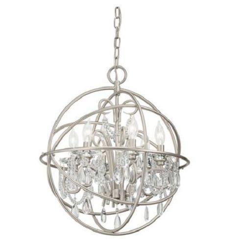 375 99 Brushed Nickel Crystal Chandelier Orb Cage 6 Light