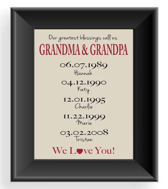 Personalized grandparents gift print gift for grandma for Homemade christmas gift ideas for grandparents