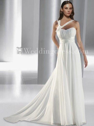 Chiffon slim a-line gown with corset closure with ruched satin band on the empire waist