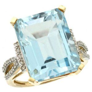 A Wonderful 9ct gold Emerald cut Sky Blue Topaz rings with diamonds... very elegant!!