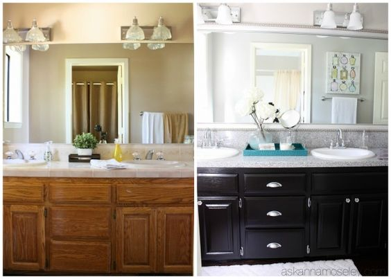 Bathroom makeovers cabinets and inspirational on pinterest for Bathroom makeover before and after