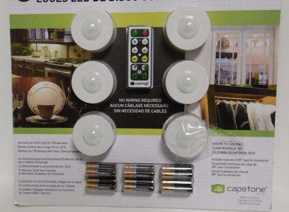 CAPSTONE 6 LED Puck Lights w/ Remote Control Wireless One Touch W/ Batteries B31…