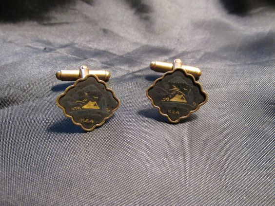Asian Themed Damascene Hinged Cuff Links by DresdenCreations, $20.00