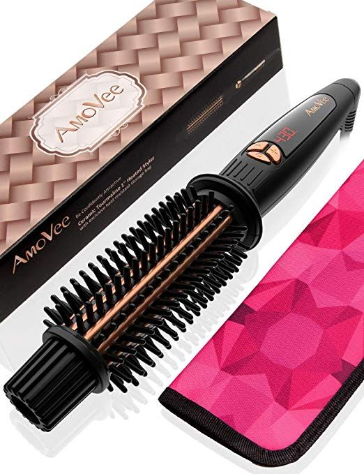 Amovee Curling Iron Brush Ceramic Tourmaline Ionic Hair Curling Wand Volumizing Hot Brush With Curling Hair With Wand Wand Curls Hair Straighteners Flat Irons