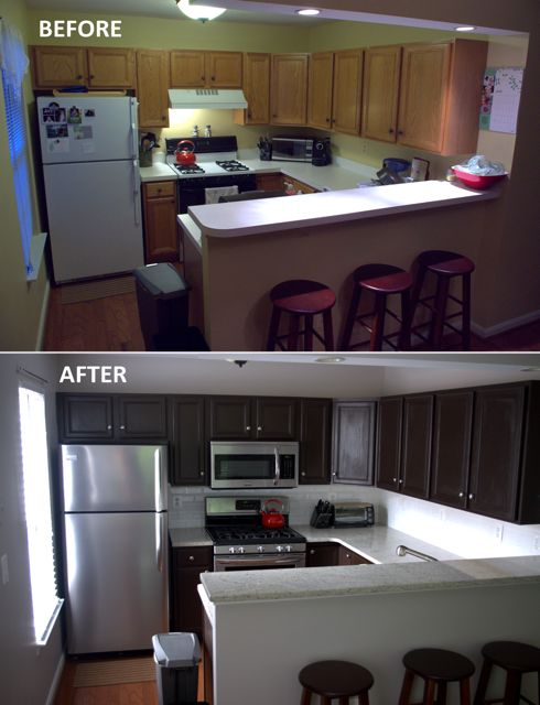 Kitchen remodel complete stains kitchen cabinet redo for Cost to refurbish kitchen cabinets