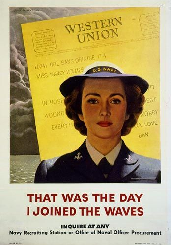 """WWII recruiting poster for the US Navy WAVES featuring an emotional appeal -- a telegram to the stateside woman from her wounded husband at war. """"That was the day I joined the WAVES."""" Photo reference for the Duster graphic novel. http://Duster.me"""