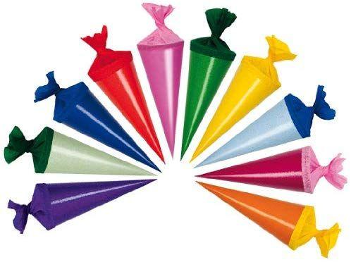 10 verschiedene Farben 10 Deko Schultüten Länge 12cm