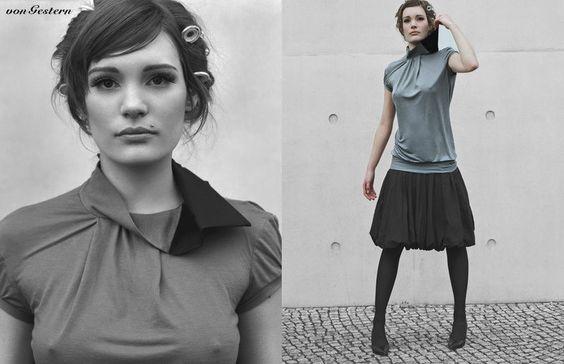 Shirt aus leichtem Baumwolljersey mit asymetrischem Kragen und kurzen Ärmeln.    Erhältlich in allen Größen: XS, S, M, L, XL    Grauton kann je nac...