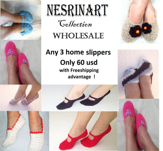 FREE SIPPING  Wholesale any 3 home slippers of my by NesrinArt, $60.00