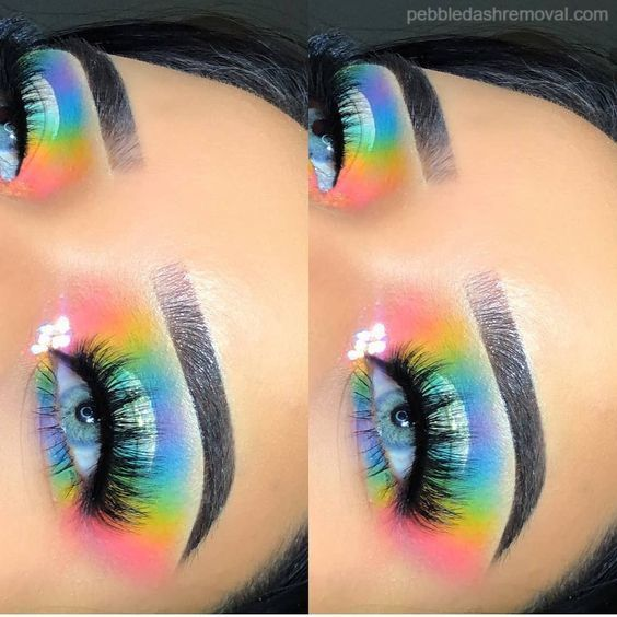 To Remove All Make Up Residues Clean The Eyes With A Cotton Pad Dipped In Cleansing Milk In 2020 Rainbow Eye Makeup Makeup Looks For Green Eyes Creative Eye Makeup