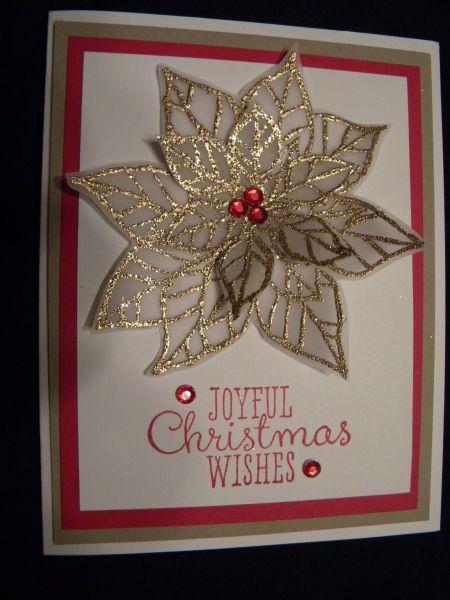 Handmade christmas card poinsettia gold embossed on for Elegant christmas card ideas