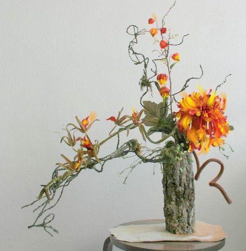 Floral Arrangement Orange Rustic Modern Contemporary