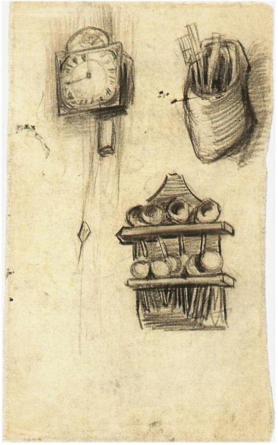 Vincent van Gogh zueco con cubertería y estante de cucharas Drawing