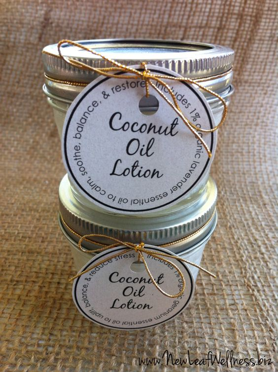 This homemade coconut oil lotion recipe yields 18 jars of lotion to share with family and friends. These cute, homemade gifts cost less than $5 each!