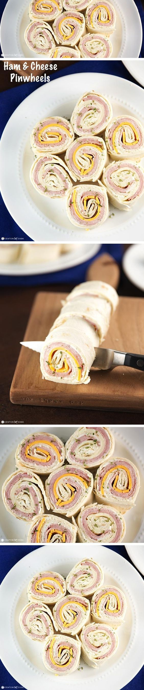 These HAM and CHEESE PINWHEELS are made with seasoned cream cheese spread, fresh slices of deli ham and cheese and rolled up on tortillas and cut into pieces. The result is a fun appetizer or snack great for any occasion. This is the perfect quick and easy appetizer!
