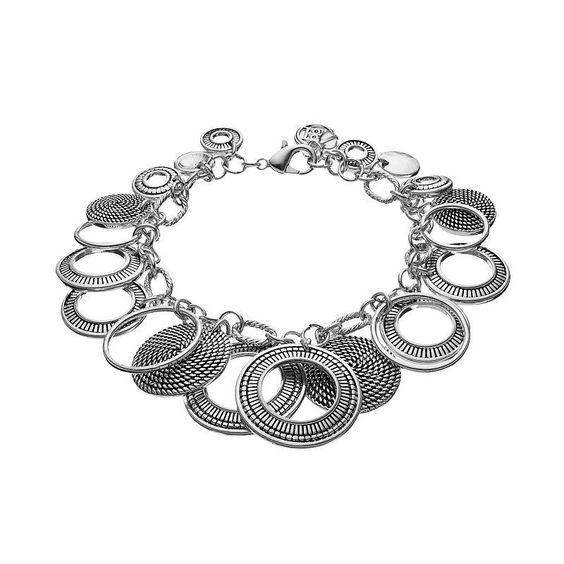 Dana Buchman Textured Circle Bracelet, Women's, Silver