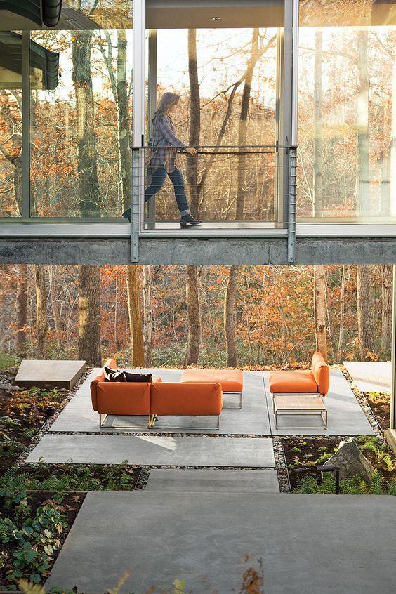 Glass Concrete Patio : Modern landscaping glass bridge over concrete patio